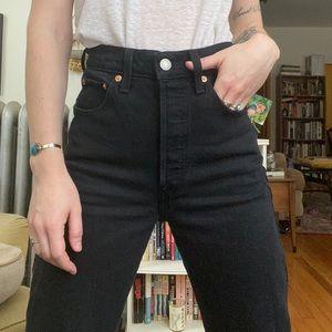 Levi's Ribcage Crop Flare Jeans Black size 23